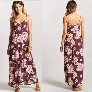Wine / Pink Contemporary Floral Maxi Dress